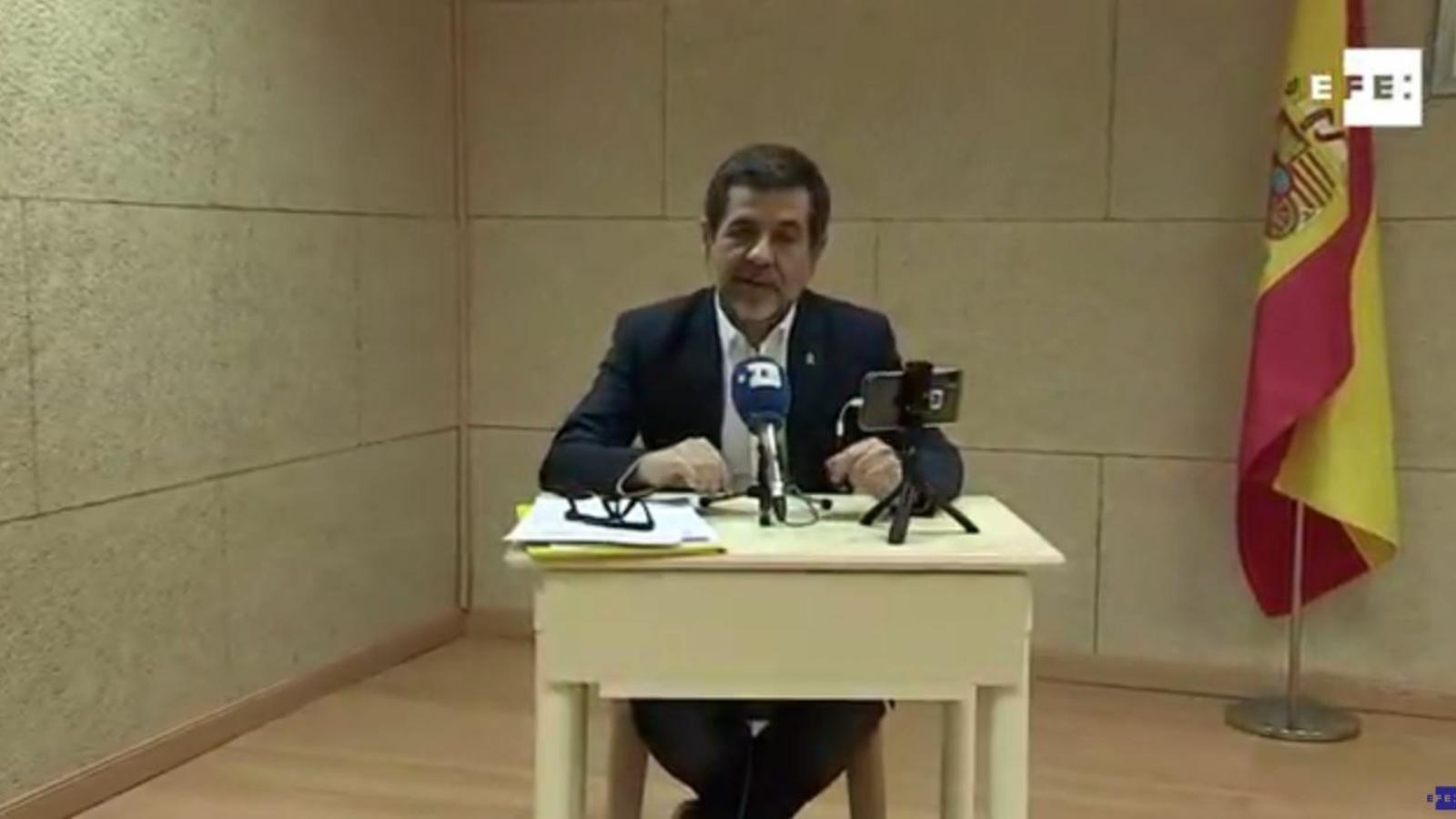 Jordi Sànchez en roda de premsa des de Soto del Real