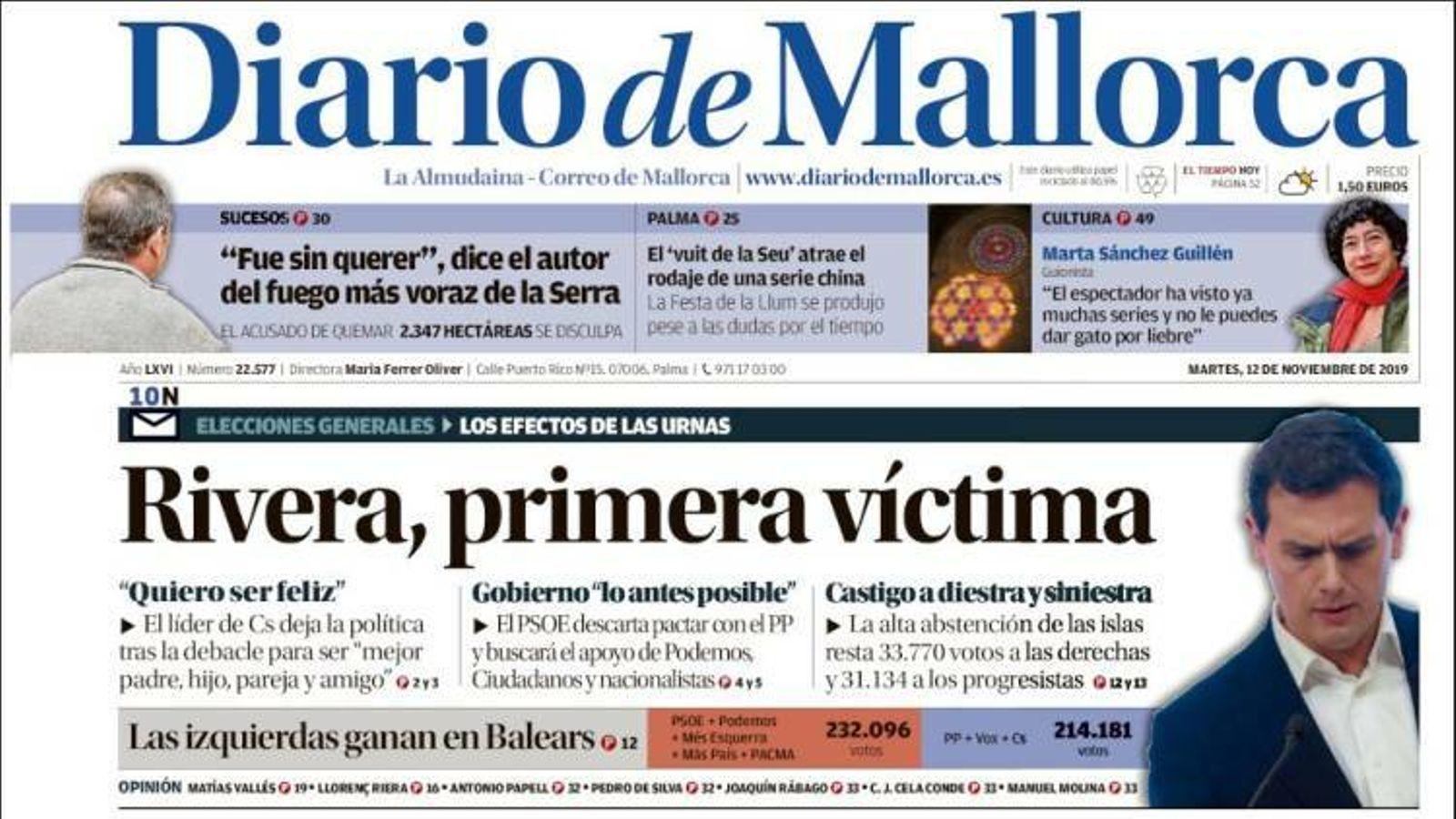 """Rivera, primera víctima"", a la portada de 'Diario de Mallorca'"