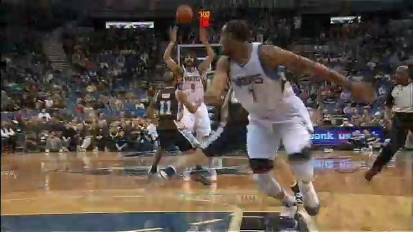 Assistència espectacular de Ricky Rubio a Derrick Williams durant el partit Timberwolves-Spurs