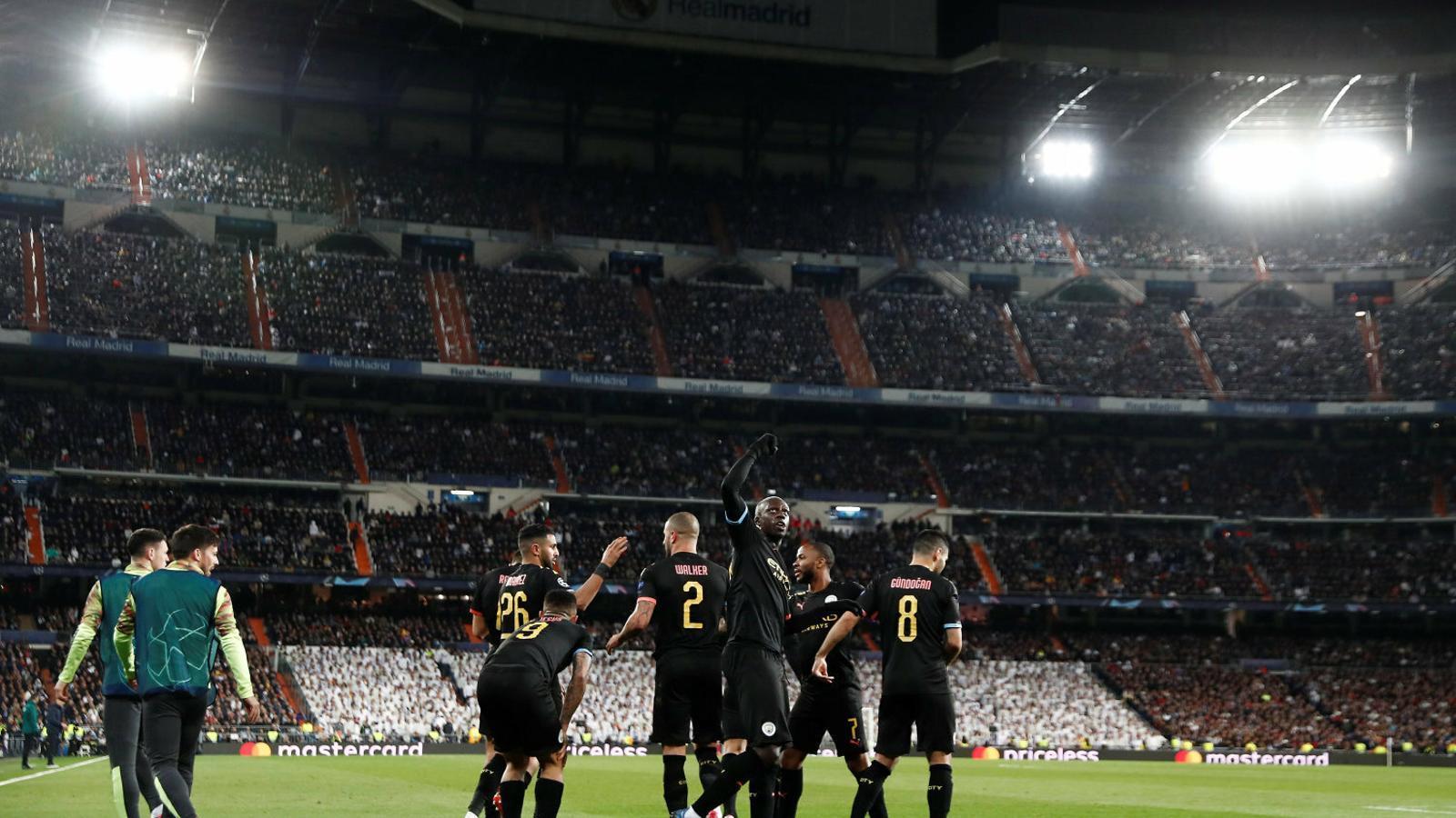 Els jugadors del Manchester City celebrant el gol de l'empat de Gabriel Jesus al Bernabéu. Cinc minuts després, De Bruyne feia el segon.