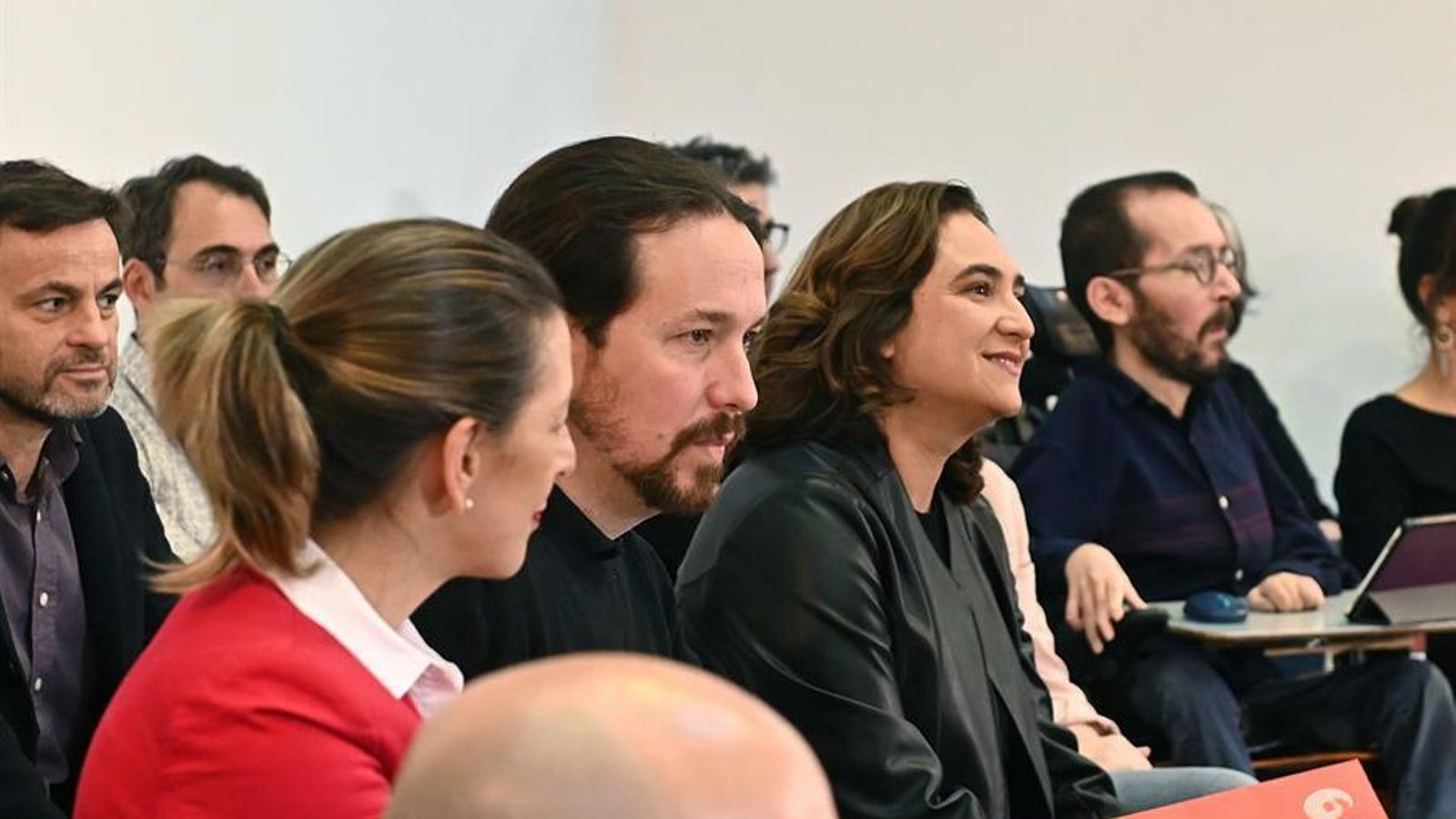 Pablo Iglesias i Ada Colau, en la trobada de les direccions dels partits que integren Unides Podem