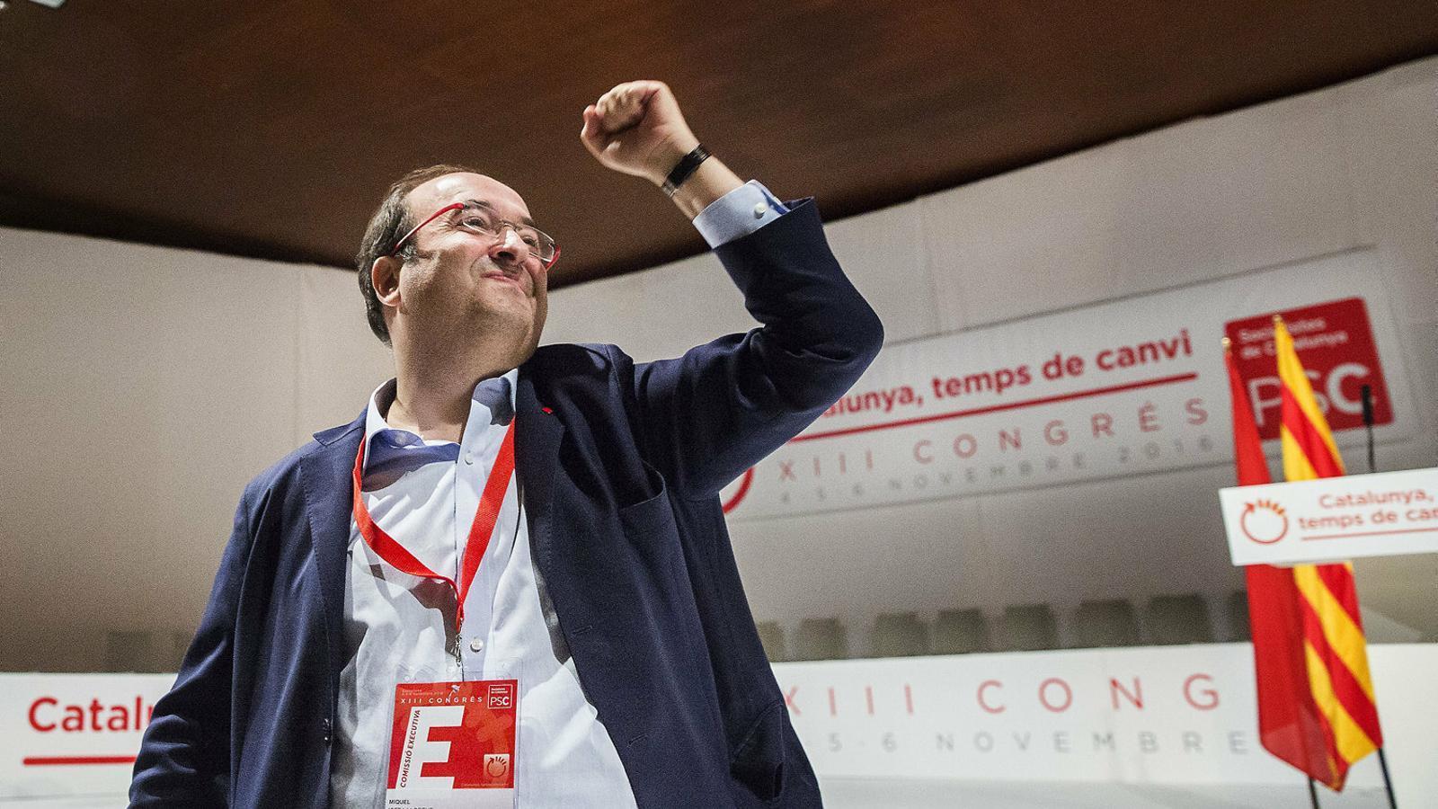 El primer secretari del PSC, Miquel Iceta, en una imatge del congrés del partit de l'any 2016 que va enterrar el dret a decidir.