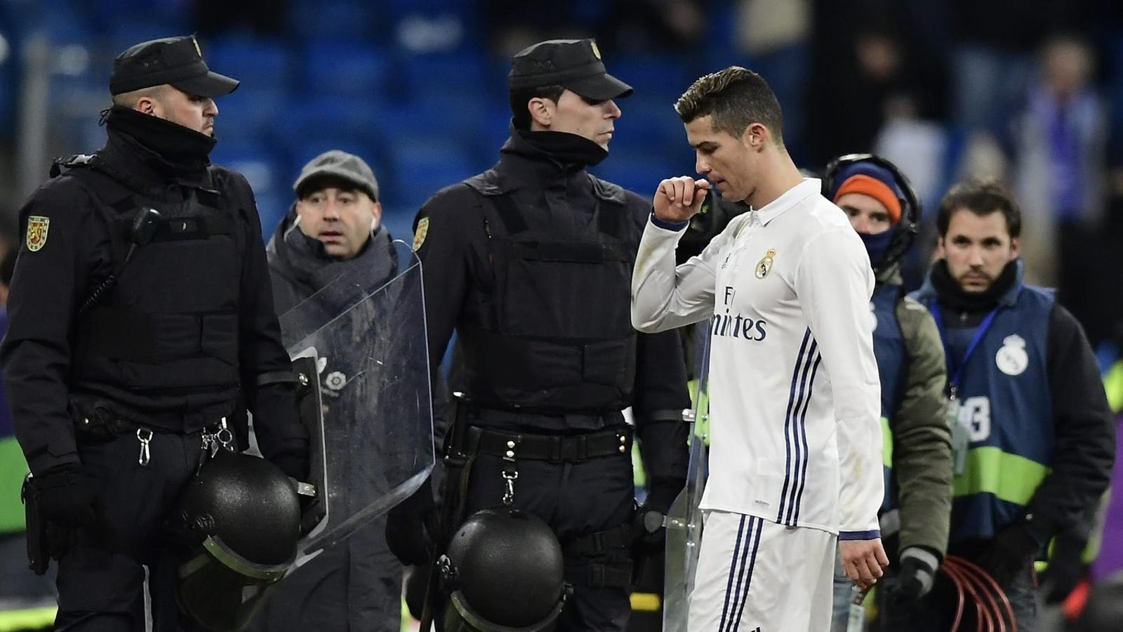 Cristiano decebut després de la derrota contra el Celta. El davanter només  va tenir dues ocasions tímides en tot el partit.