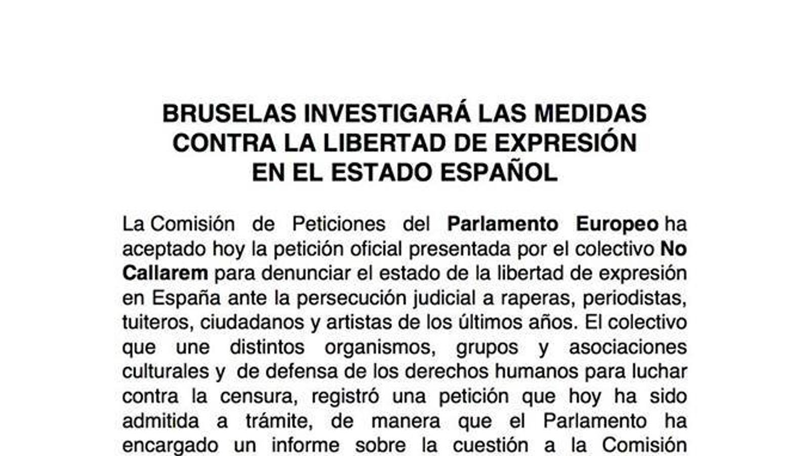 Comunicat col·lectiu 'No Callarem' sobre la resposta del Parlament Europeu