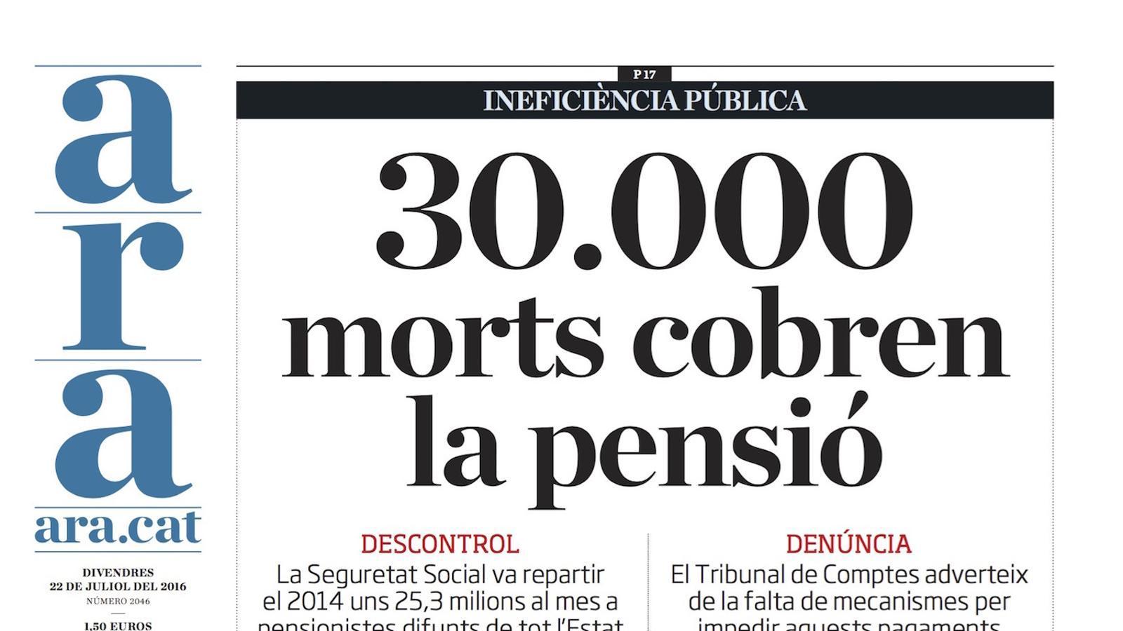 """""""30.000 morts cobren la pensió"""", portada de l'ARA"""