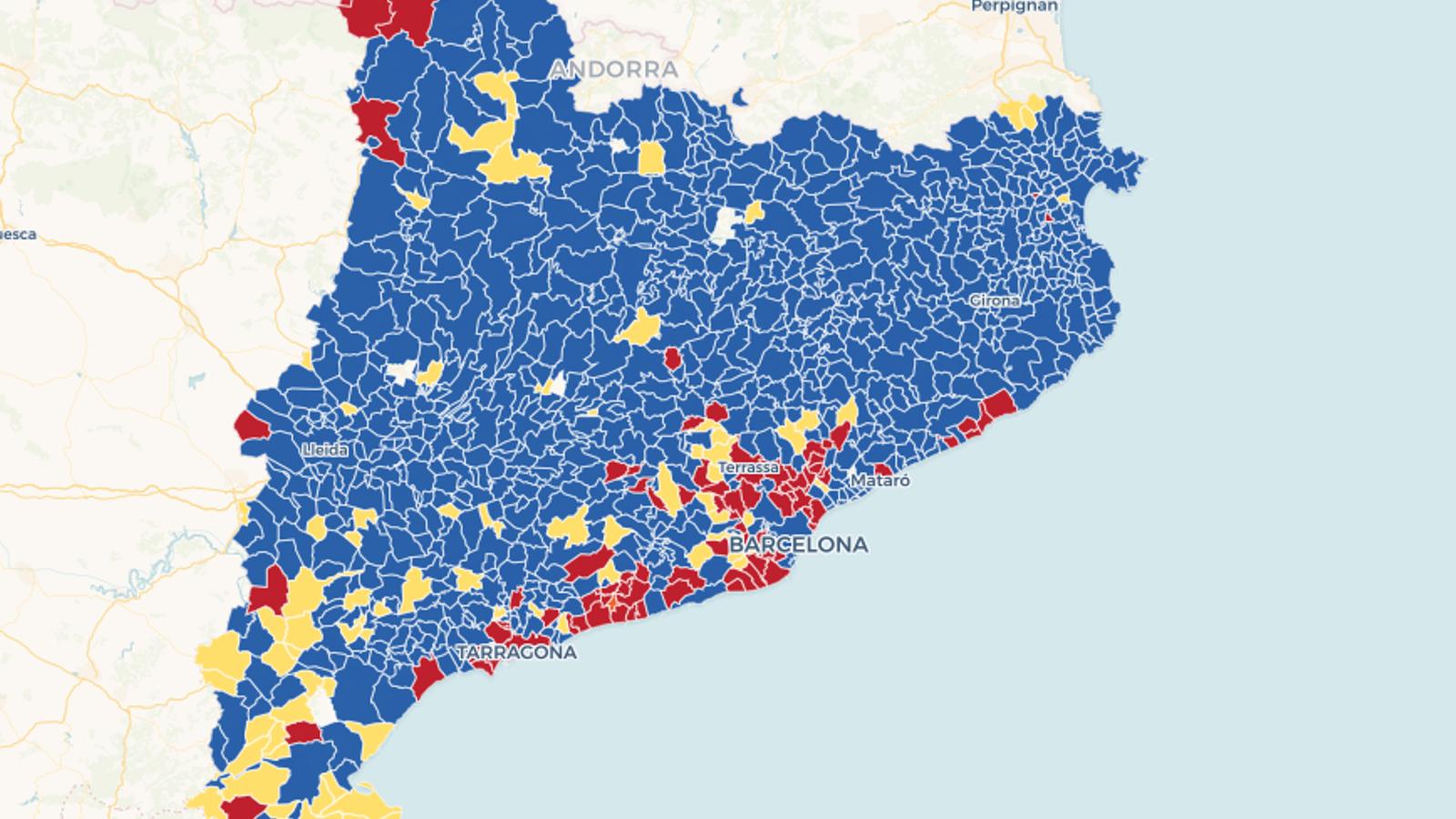 Mapa: el guanyador de les europees, municipi a municipi