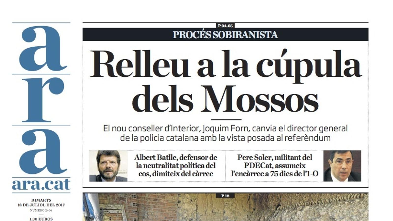 """""""Relleu a la cúpula dels Mossos"""", portada de l'ARA"""