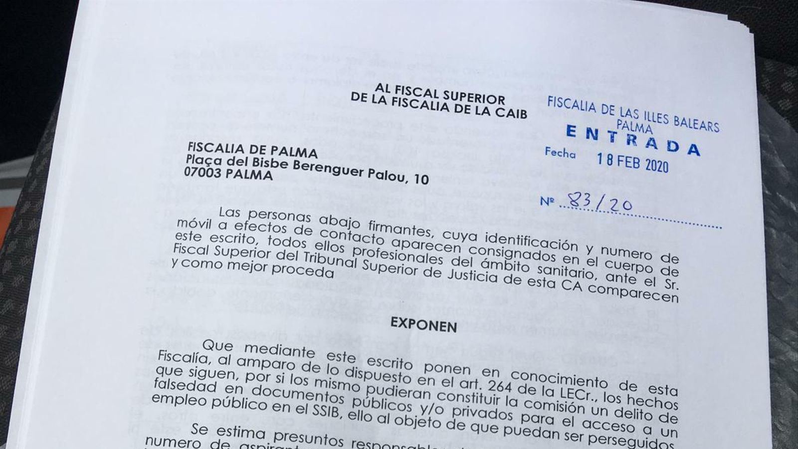 Denúncia per falsificació de documents per part d'infermers aspirants a la borsa de l'IB-Salut