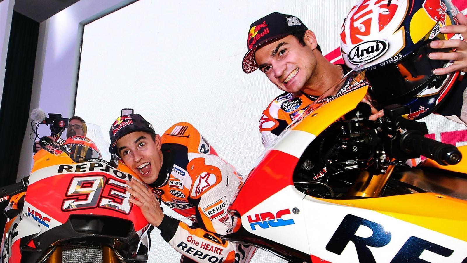 Márquez i Pedrosa, durant la presentació de l'equip Repsol Honda de MotoGP