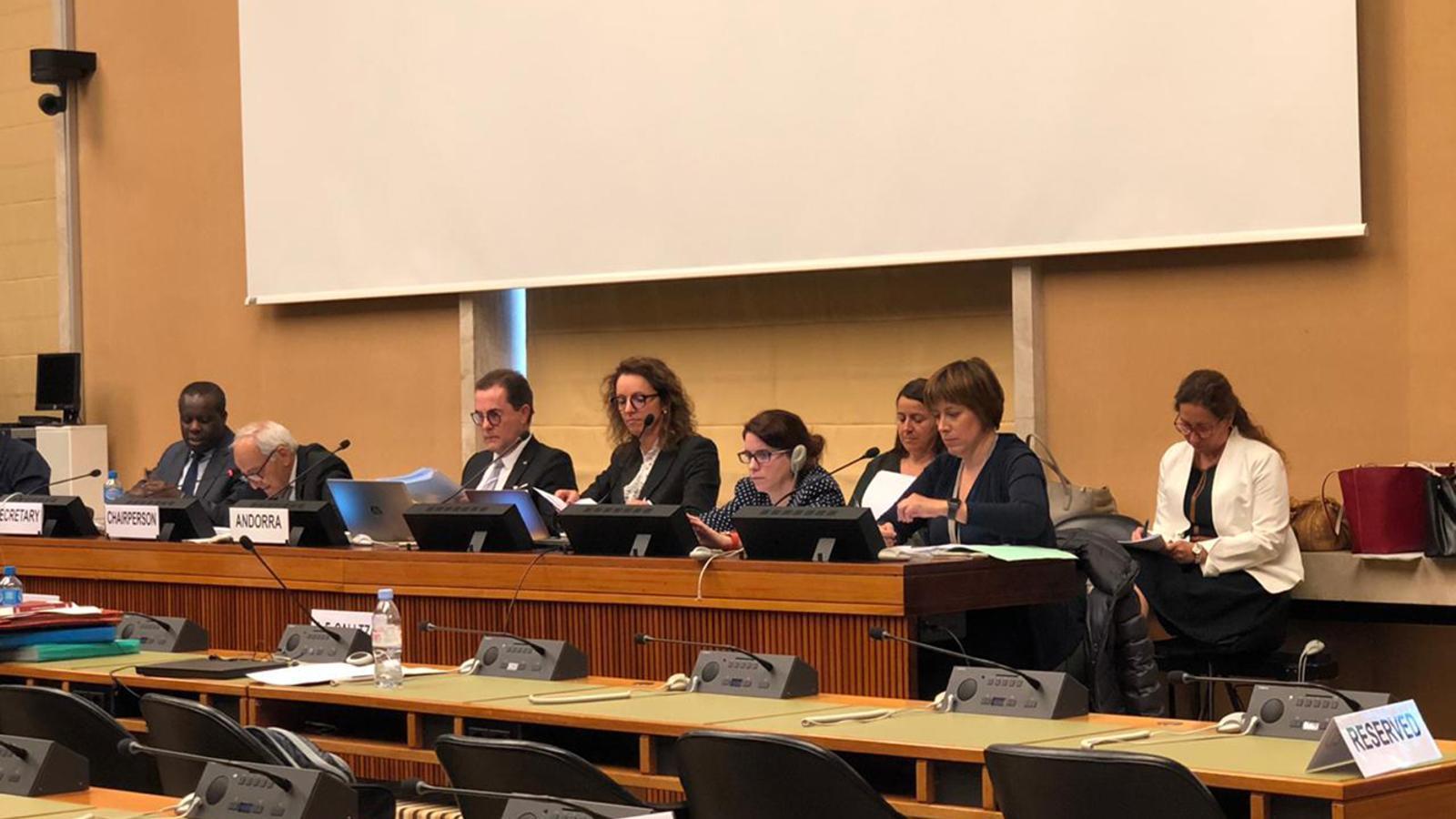 La intervenció dels representants andorrans davant el Comitè per a l'Eliminació de la Discriminació Racial. / SFG