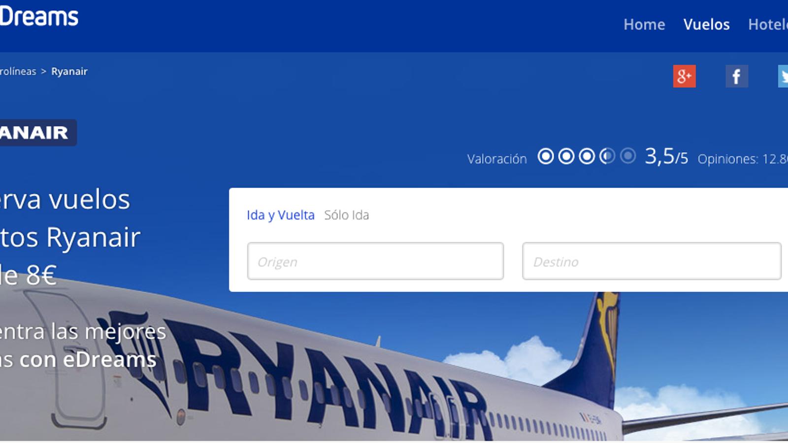 Ryanair signa la pau amb eDreams i Google en les denúncies per publicitat enganyosa