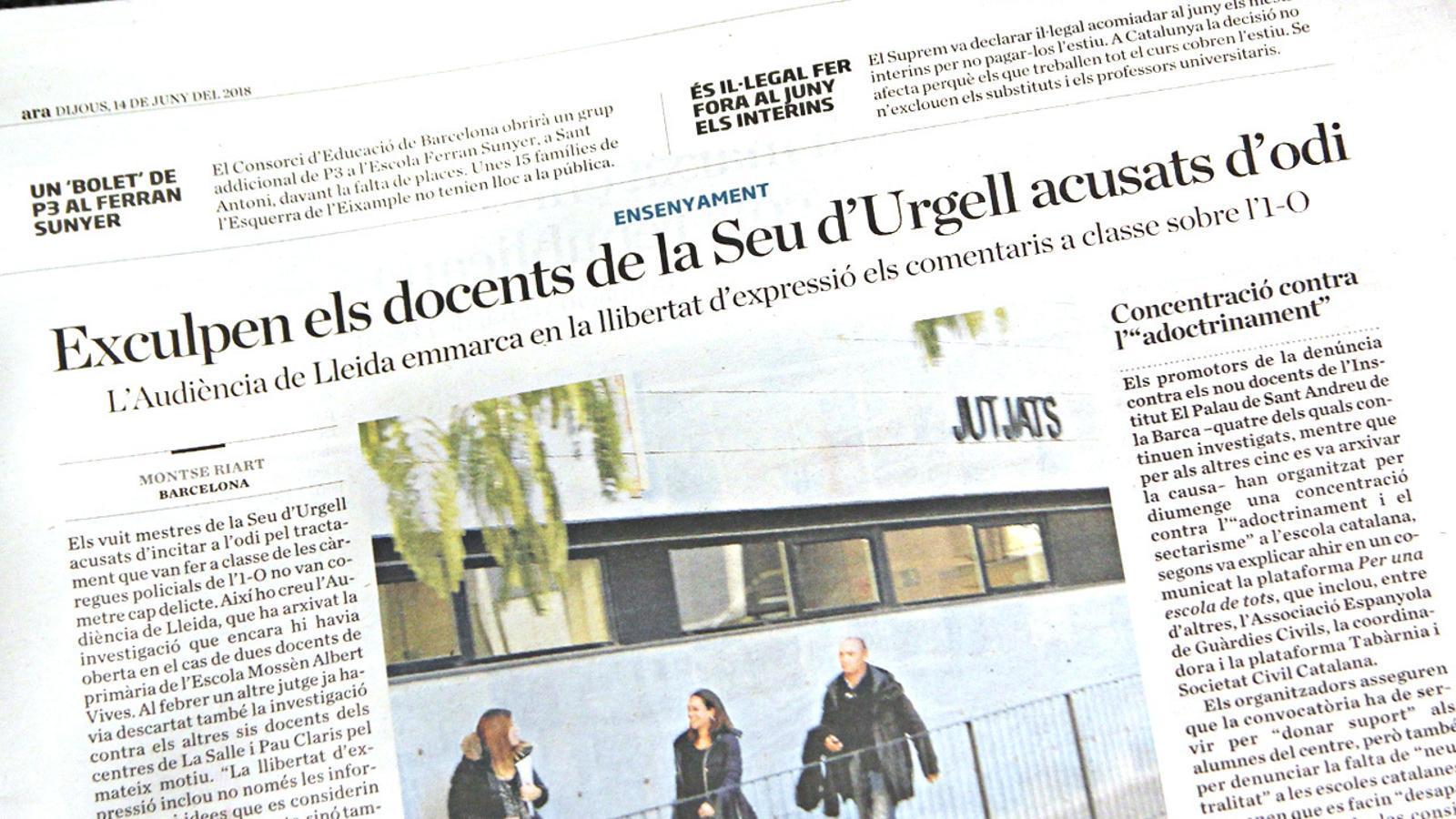 L'anàlisi d'Antoni Bassas: 'El cas dels mestres de la Seu indica el camí de la justícia'