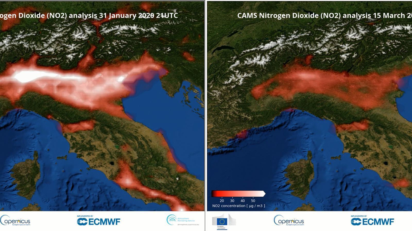 Imatge de la reducció de la pol·lució al nord d'Itàlia la primera quinzena de març.