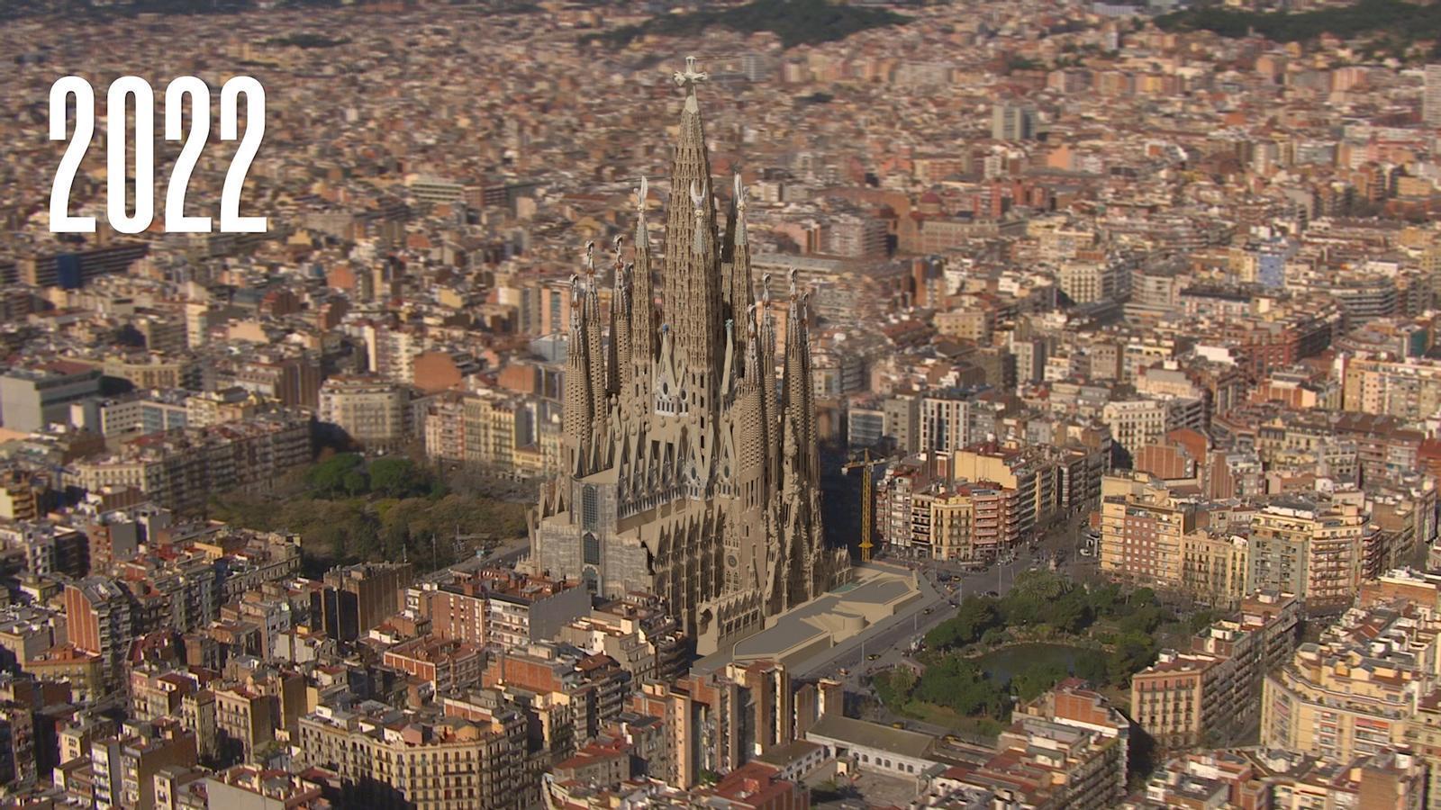 Recreació de la construcció de la Sagrada Família