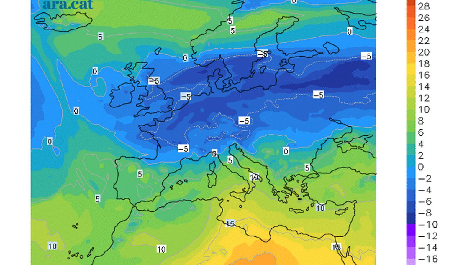 Mapa de la temperatura prevista a 850 hPa (uns 1.500 metres) per la nit de dilluns a dimarts