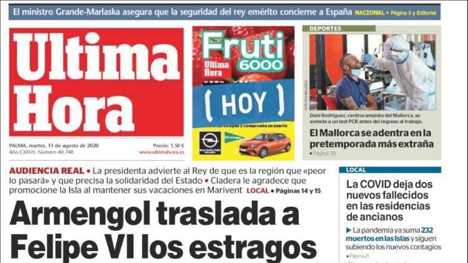 """""""Armengol trasllada a Felip VI els estralls de la crisi a les Balears"""", portada de l''Última Hora'"""