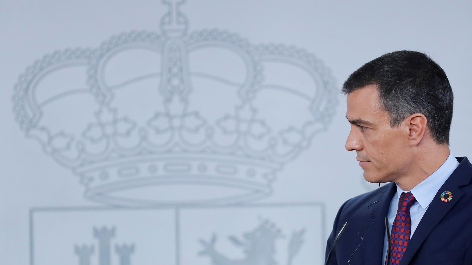 El president del govern espanyol, Pedro Sánchez, durant una roda de premsa a la Moncloa.