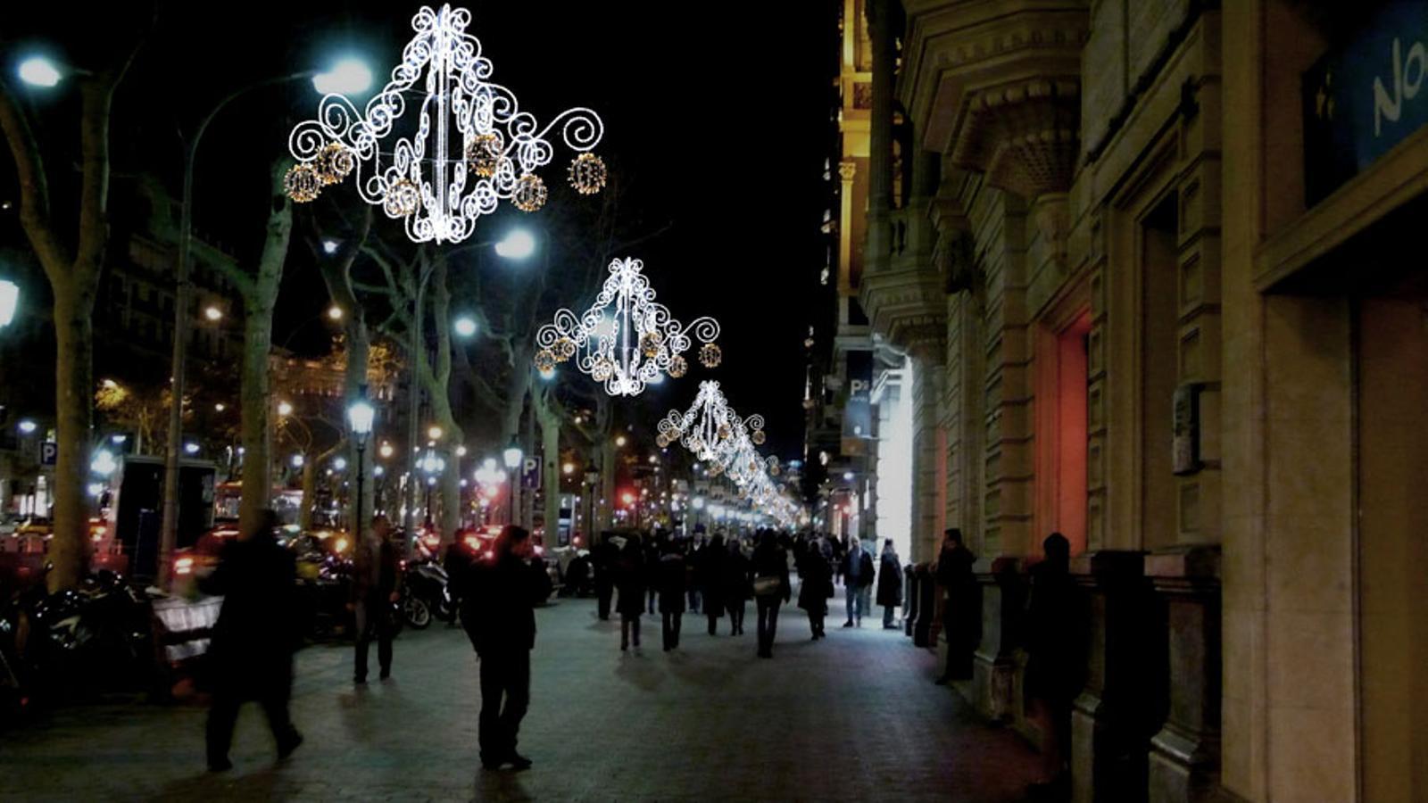 El lateral del passeig de Gràcia, en una imatge recreada amb la il·luminació de Nadal