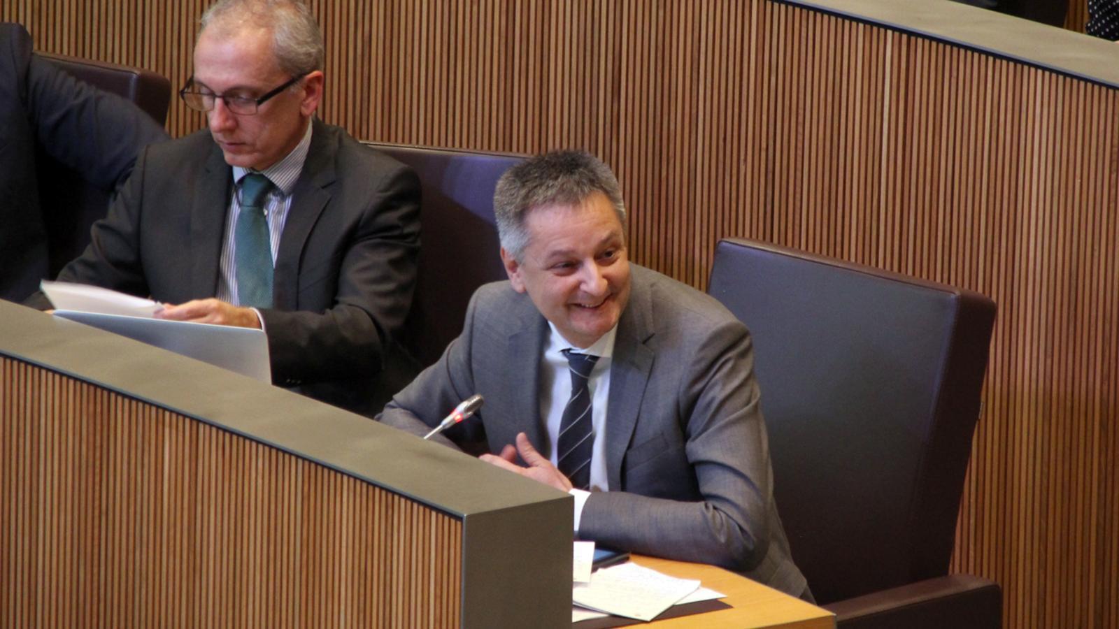 El ministre d'Economia, Competitivitat i Innovació, Gilbert Saboya, durant la seva intervenció al Consell General. / M. F. (ANA)