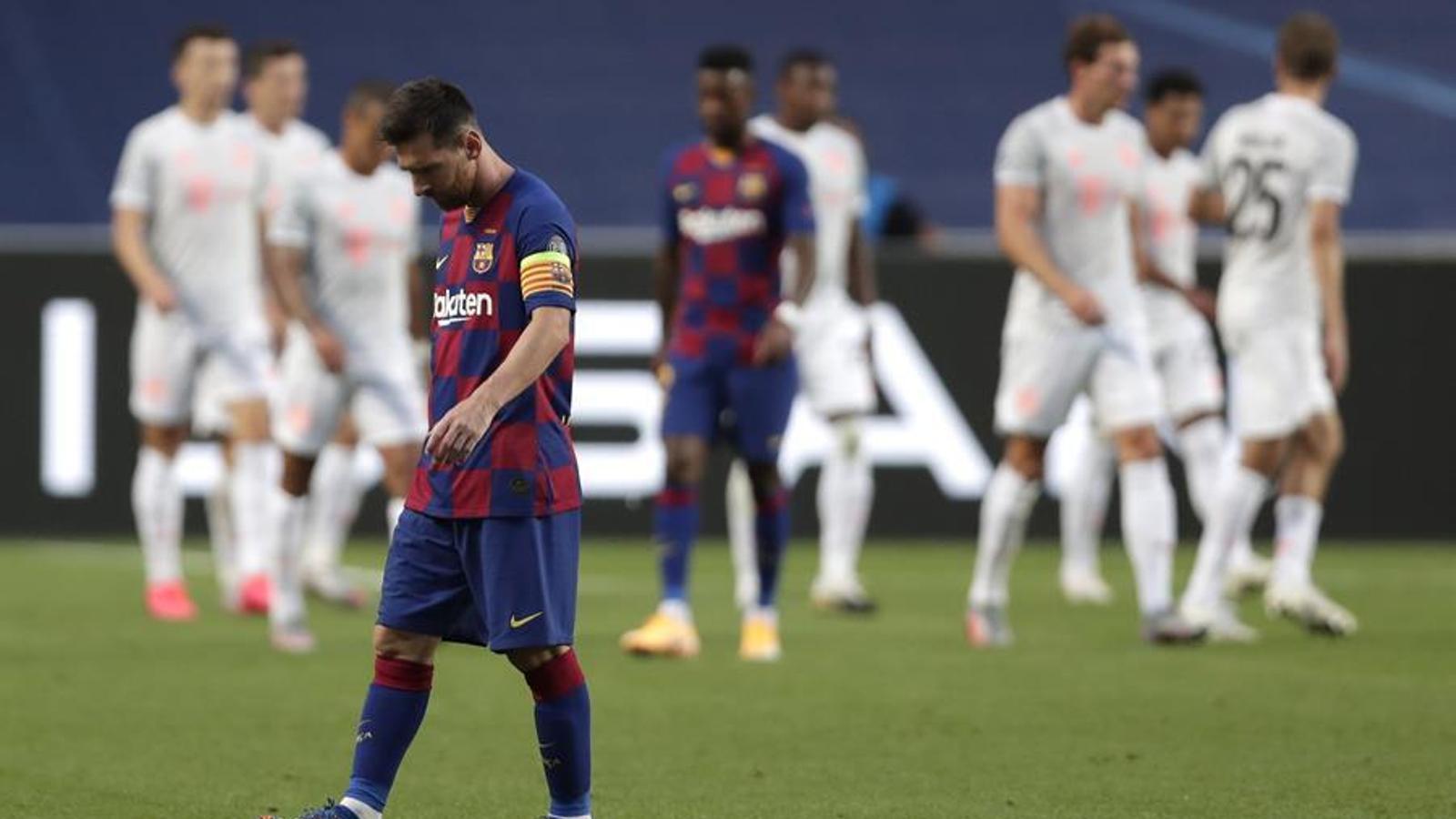 Messi, trist contra el Bayern