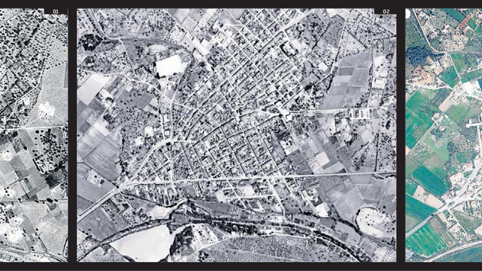 Evolució urbanística de Sant Llorenç: 01. Mapa de 1956. Als costats del torrent de les Planes no hi ha construccions. 02. El 1989, el poble s'ha acostat al torrent. 03. El 2015, tot i haver ampliat el torrent, hi ha més construccions a les voreres i a la ronda de baix