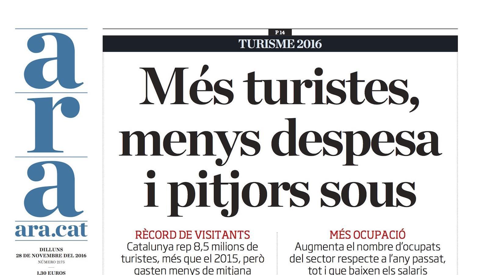 """""""Més turistes, menys despesa i pitjors sous"""", portada de l'ARA"""