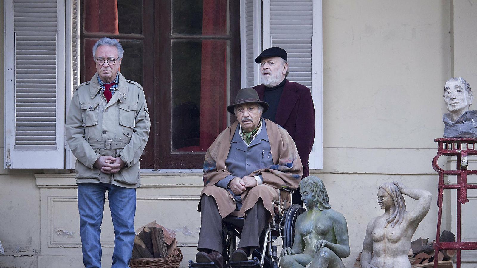 Óscar Martínez, Luis Brandoni i Marcos Mundstock a El cuento de la comadreja.
