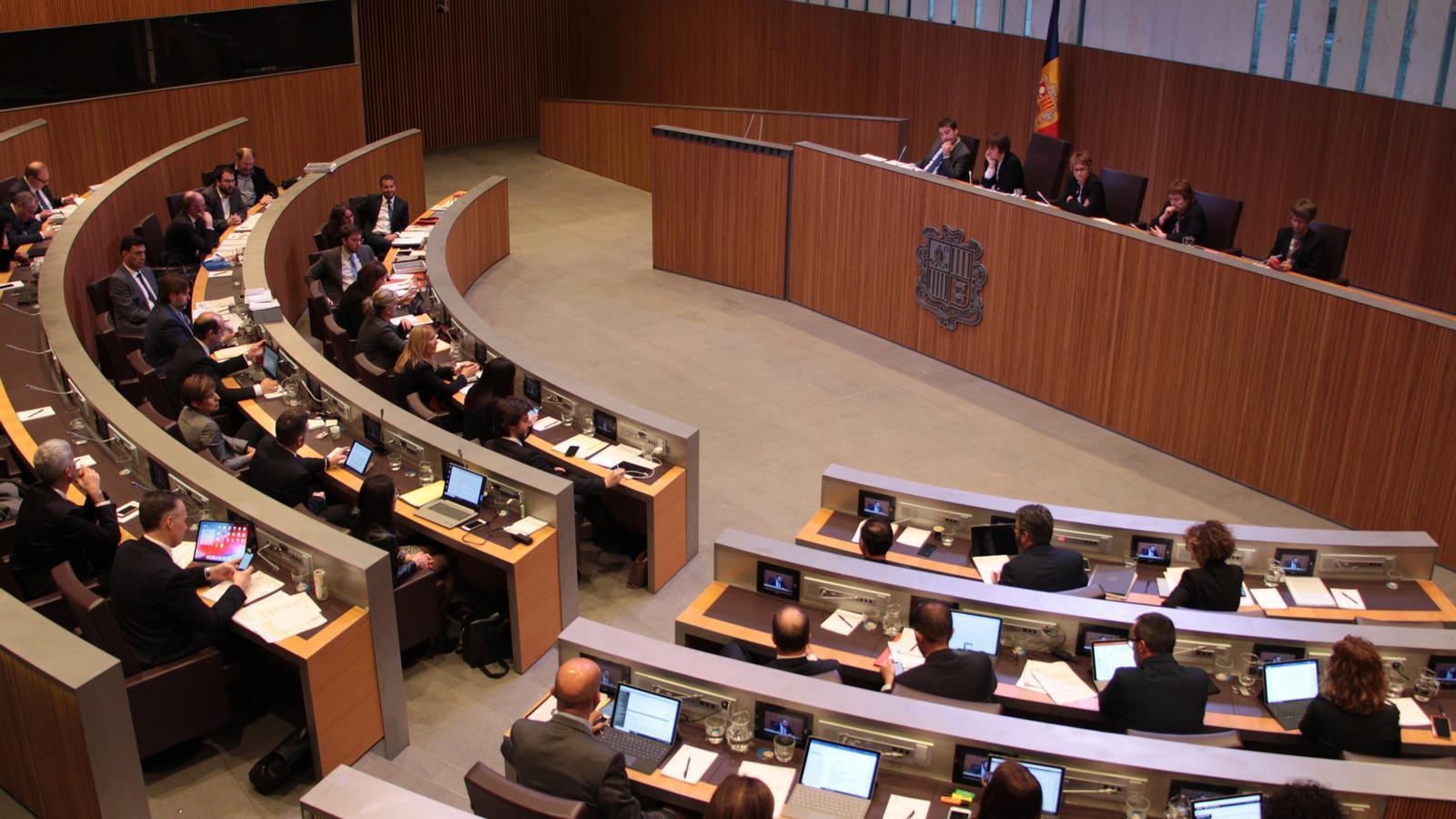 Vista general de l'hemicicle del Consell General durant el debat del pressupost 2020. / M. P. (ANA)