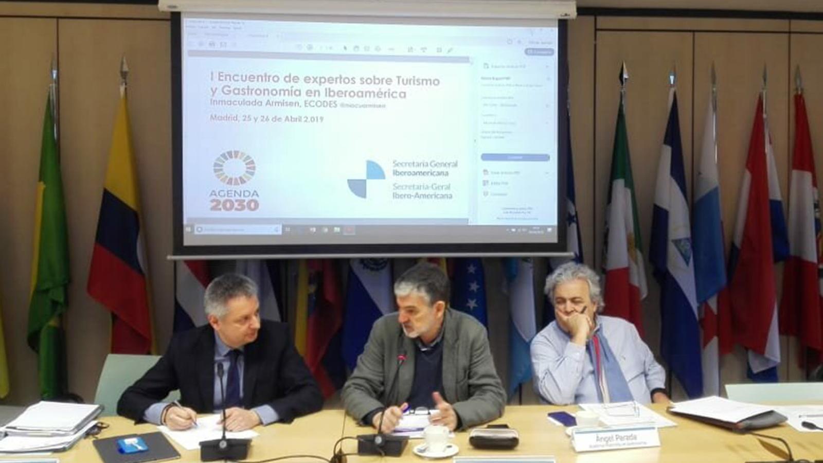 El ministre d'Economia, Competitivitat i Innovació en funcions, Gilbert Saboya, durant la seva intervenció a la trobada de Madrid. / SFG