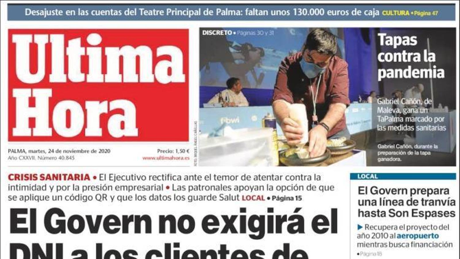 """""""El Govern no exigirà el DNI als clients de bars i restaurants"""", portada de l''Última Hora'"""