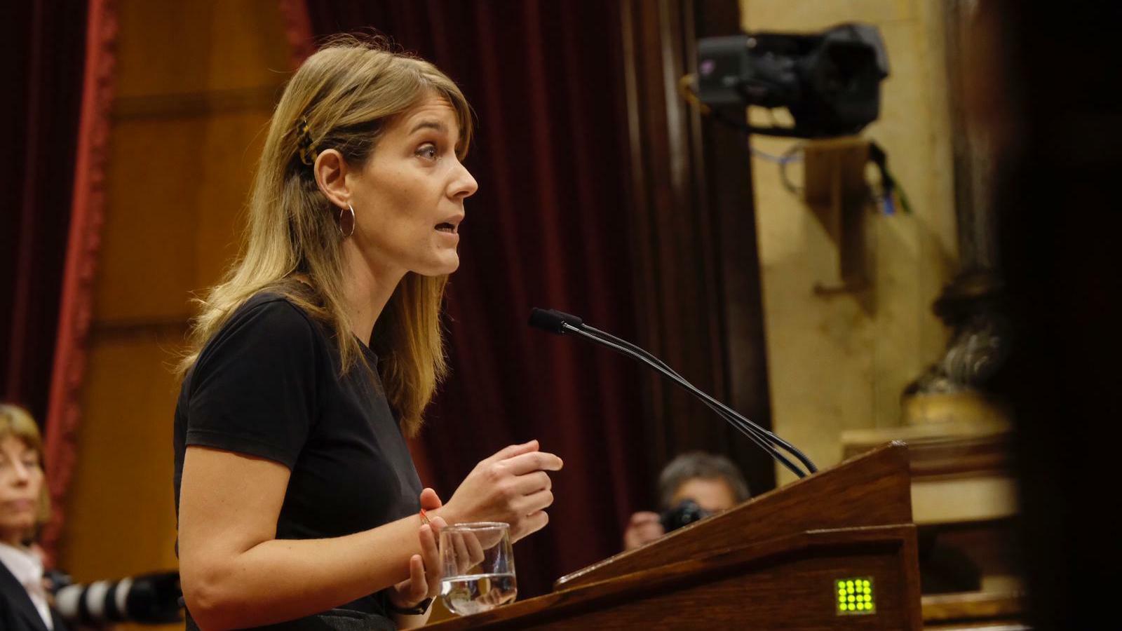 La president de Catalunya en Comú-Podem, Jéssica Albiach, durant la seva intervenció al Parlament