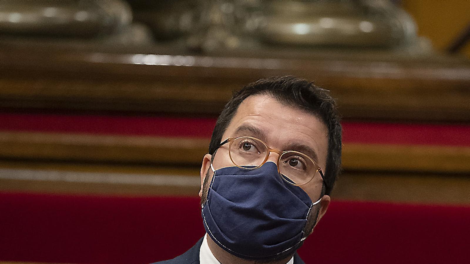 El president substitut, Pere Aragonès, participa per primer cop en aquest tipus de reunions.