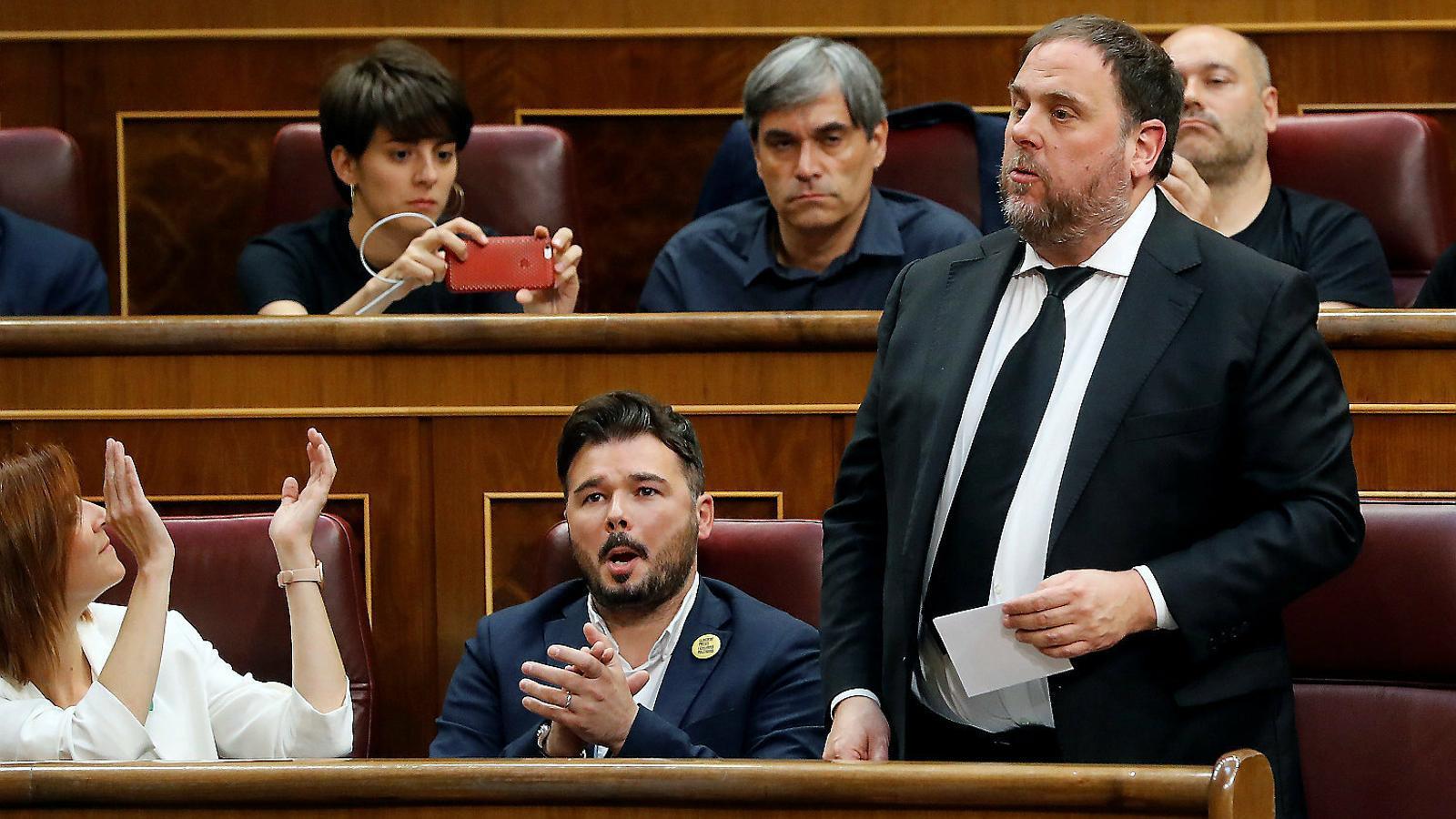 El president d'ERC, Oriol Junqueras, en la sessió constitutiva del Congrés del maig. / BALLESTEROS / EFE