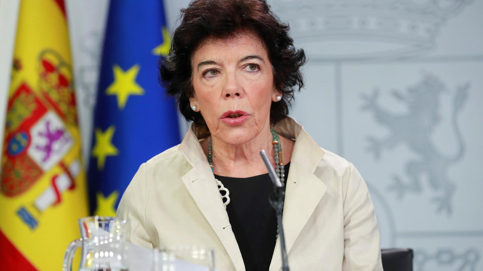 La portaveu del govern espanyol i ministra d'Educació, Isabel Celaá, aquest divendres en la roda de premsa posterior al consell de ministres