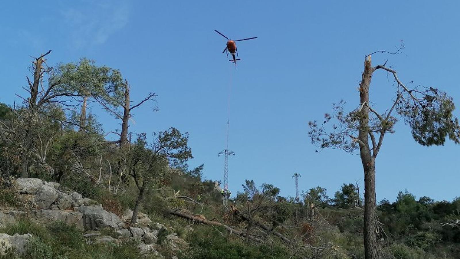 Un helicòpter ha traslladat i instal·lat les noves torres de la xarxa de distribució i estesa del cable./ GOIB