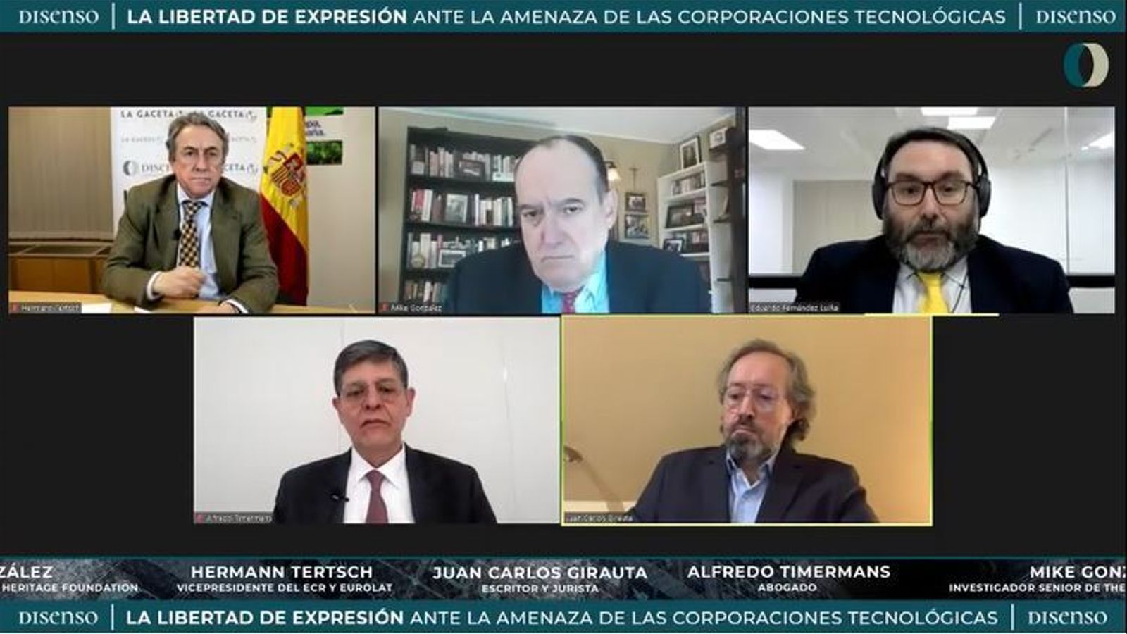 A la part inferior a la dreta, l'exdirigent de Cs Juan Carlos Girauta, en un debat organitzat per una fundació de Vox