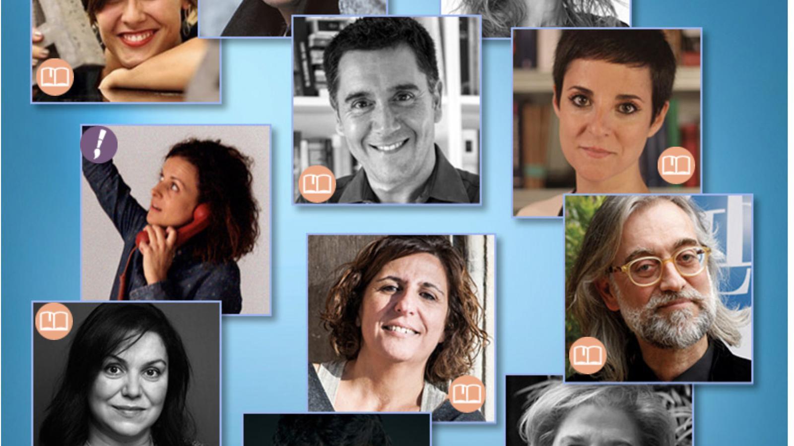 Collage amb els deu escriptors que participen amb un relat en el llibre de La Marató. A dalt de tot, al centre, Albert Villaró. / CCMA