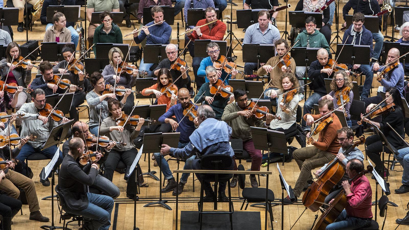 L'Orquestra Simfònica i Nacional de Catalunya durant un  Assaig dirigit per Kazushi Ono. / CÈLIA ATSET
