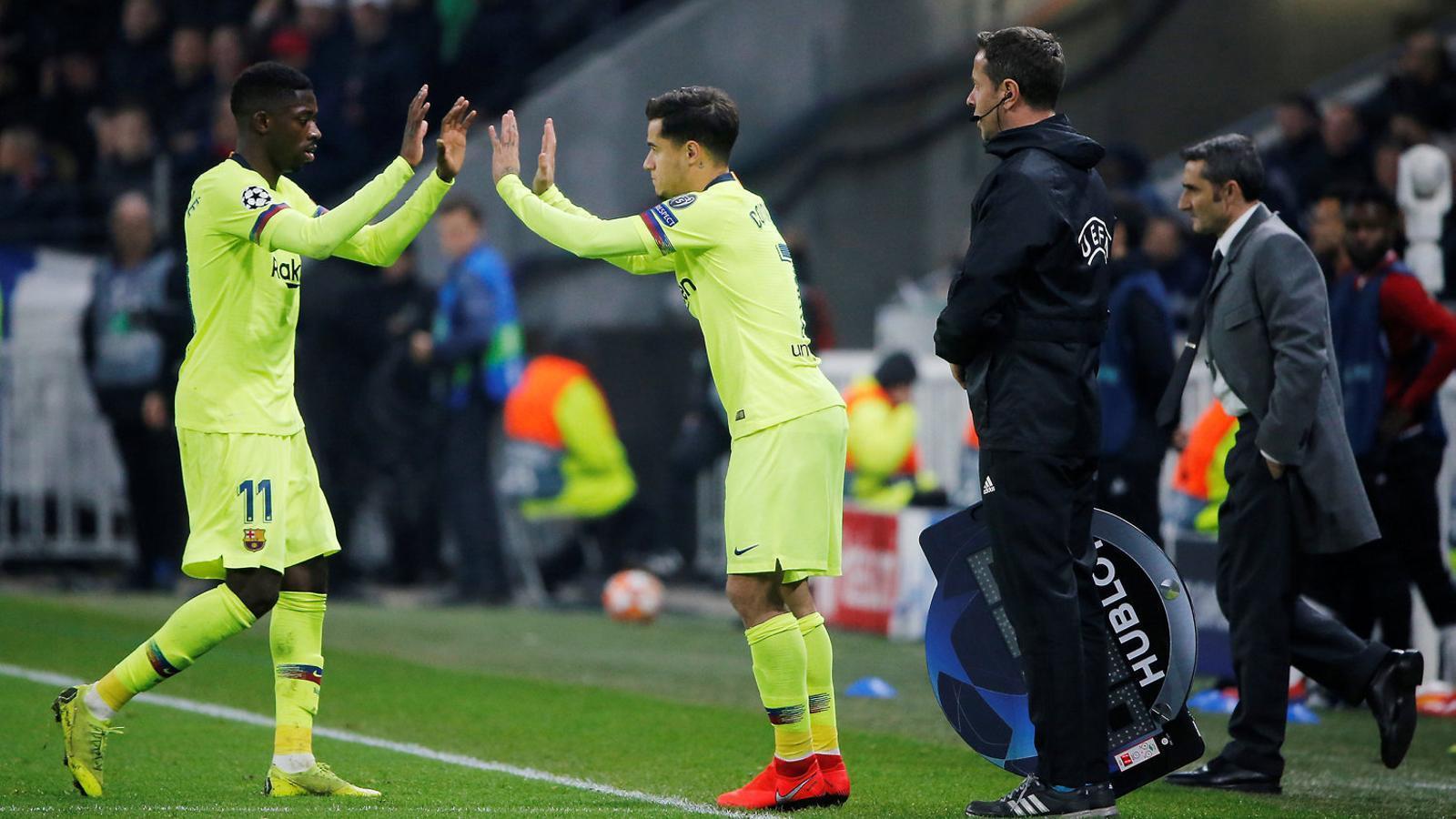 Coutinho va entrar per Dembélé al minut 67.