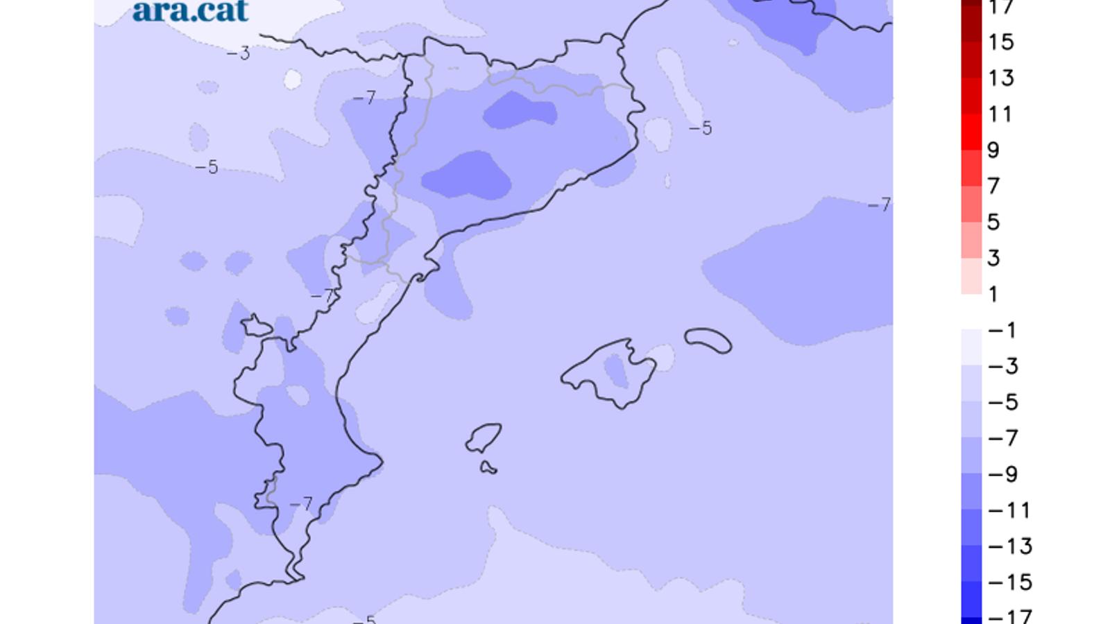 Diferència prevista entre la temperatura mínima d'avui i la de dissabte