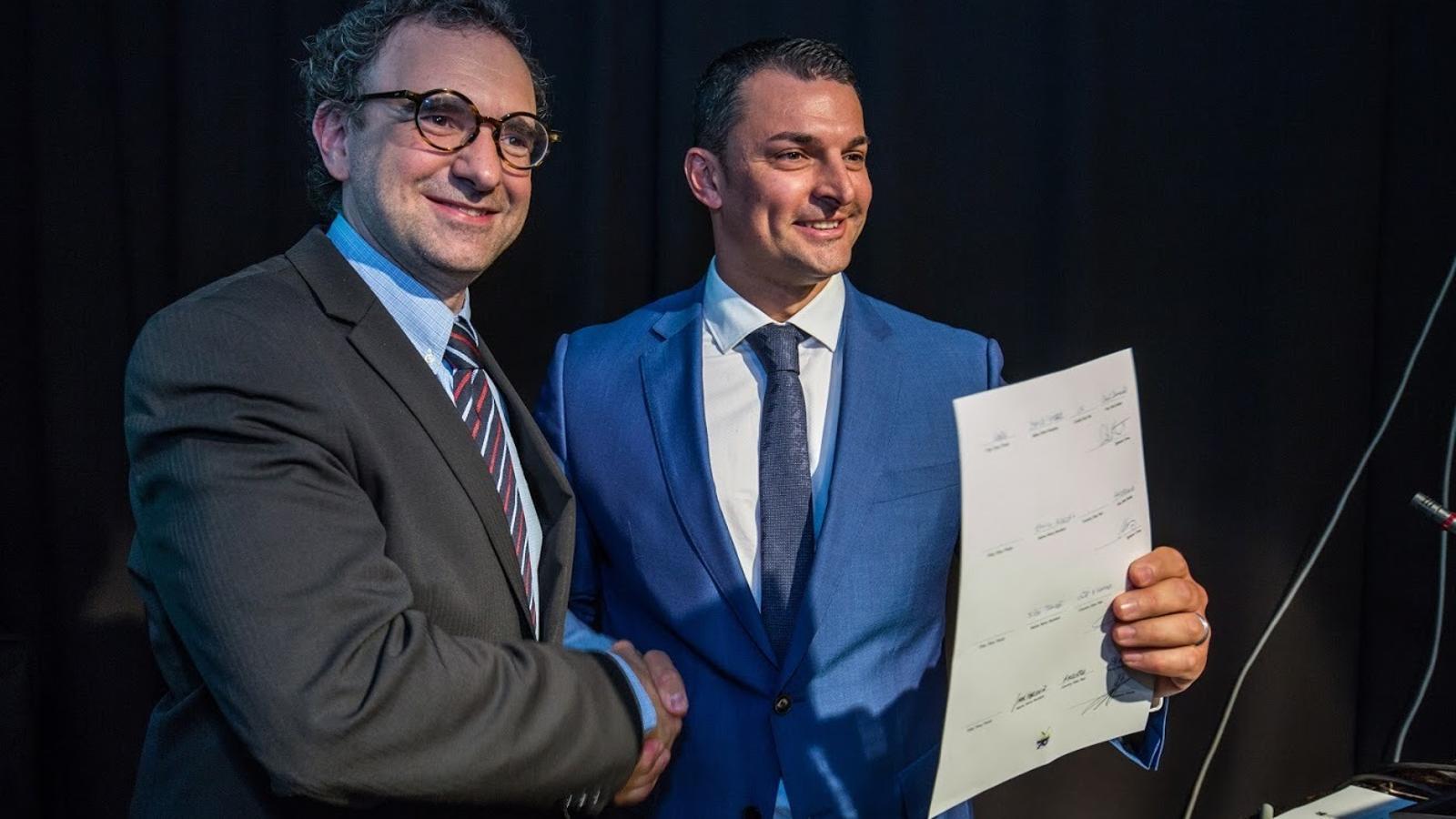 El president de la Liberal Internacional, Juli Minoves i el preident d'Ld'A, Jordi Gallardo. / LIBERALS D'ANDORRA