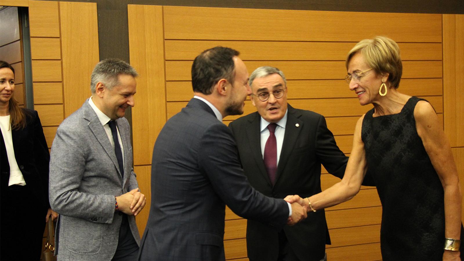 El ministre d'Afers Socials, Justícia i Interior, Xavier Espot, durant la recepció abans d'iniciar-se la celebració de la festa nacional d'Espanya. / M. M. (ANA)