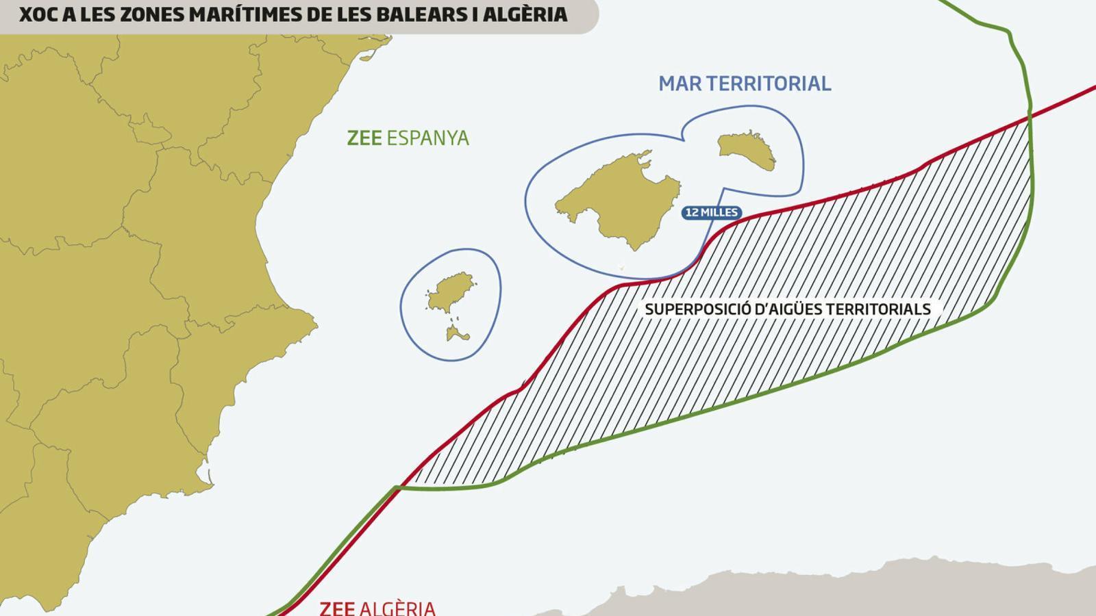 Algèria estén les seves aigües a vint quilòmetres de les Balears