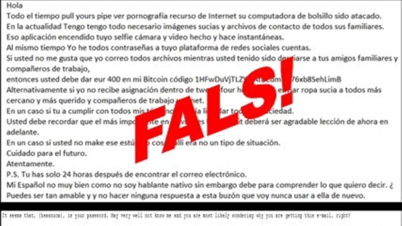 Exemple tipus d'un correu d'extorsió. / Policia d'Andorra