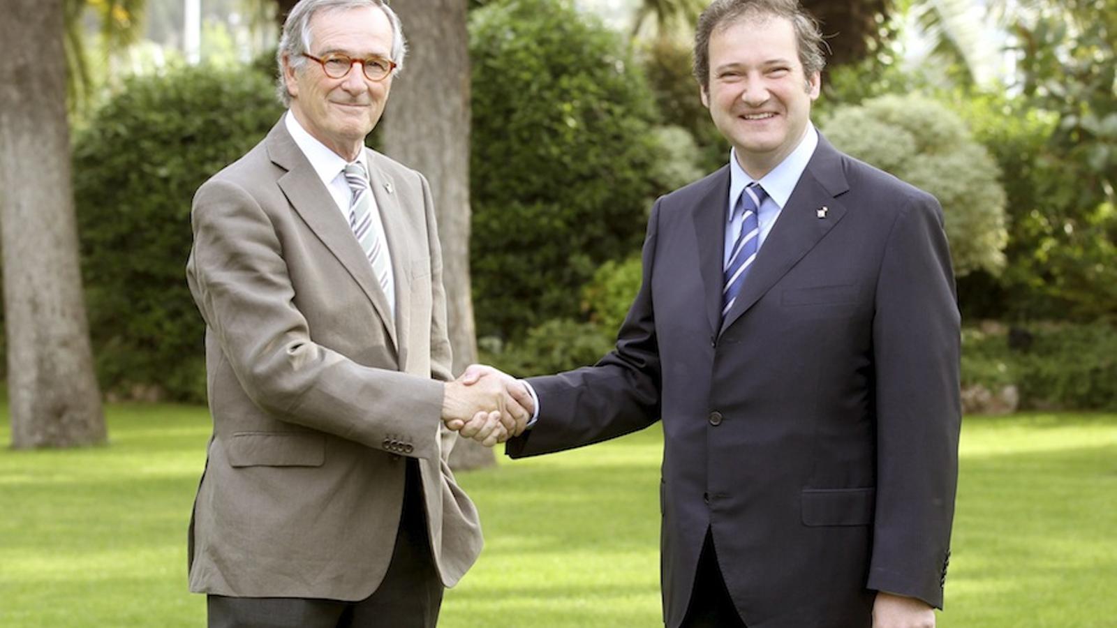 Xavier Trias i Jordi Hereu hores abans de l'inici oficial de la campanya / EFE