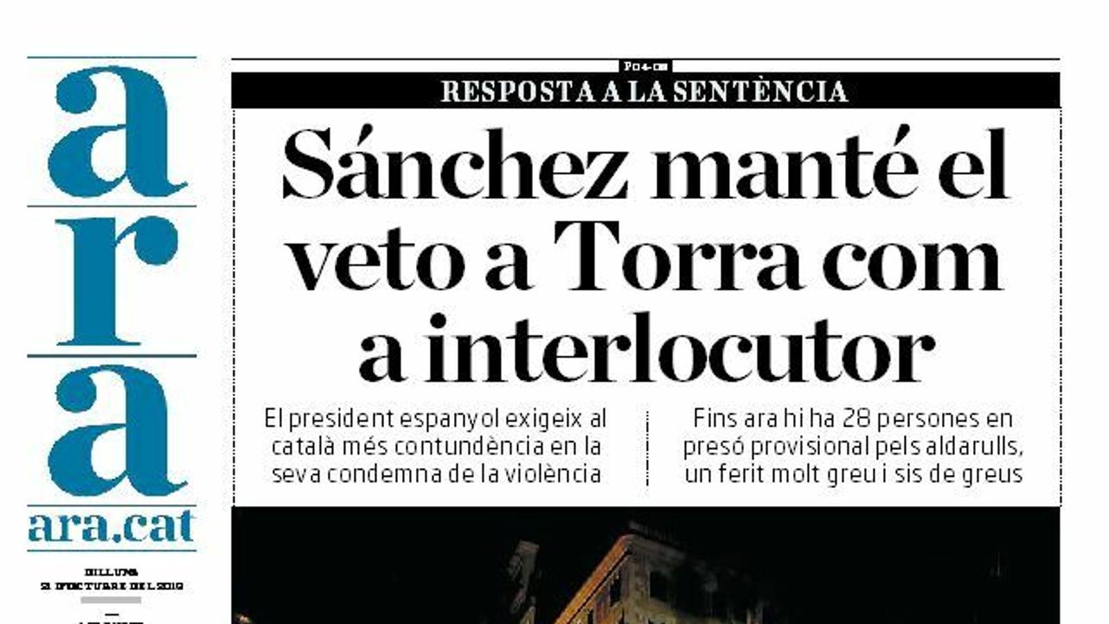 """""""Sánchez manté el veto a Torra com a interlocutor"""", portada de l'ARA"""