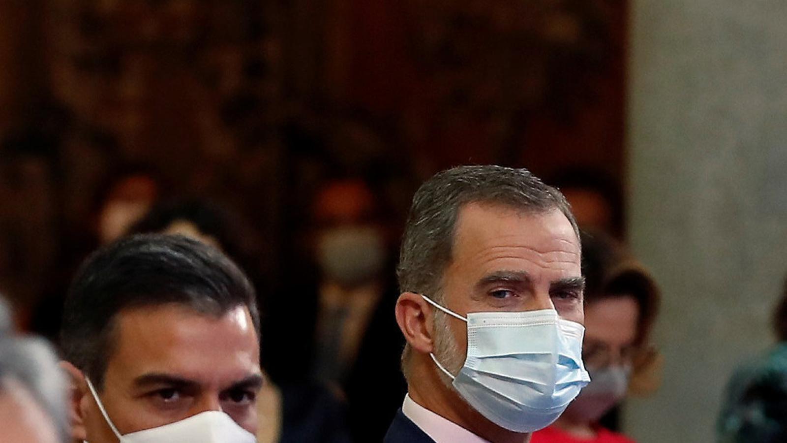 Felip VI i el president del govern espanyol, Pedro Sánchez, el novembre passat al Palau del Pardo.