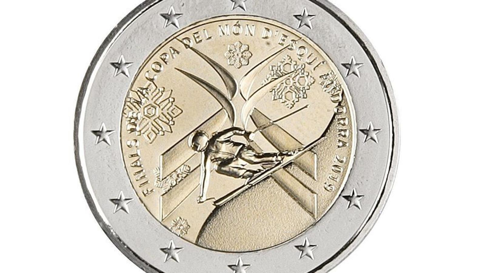 Aquesta moneda de 2 euros conmemora les finals de la Copa del Món d'esquí a Grandvalira. / ARXIU ANA