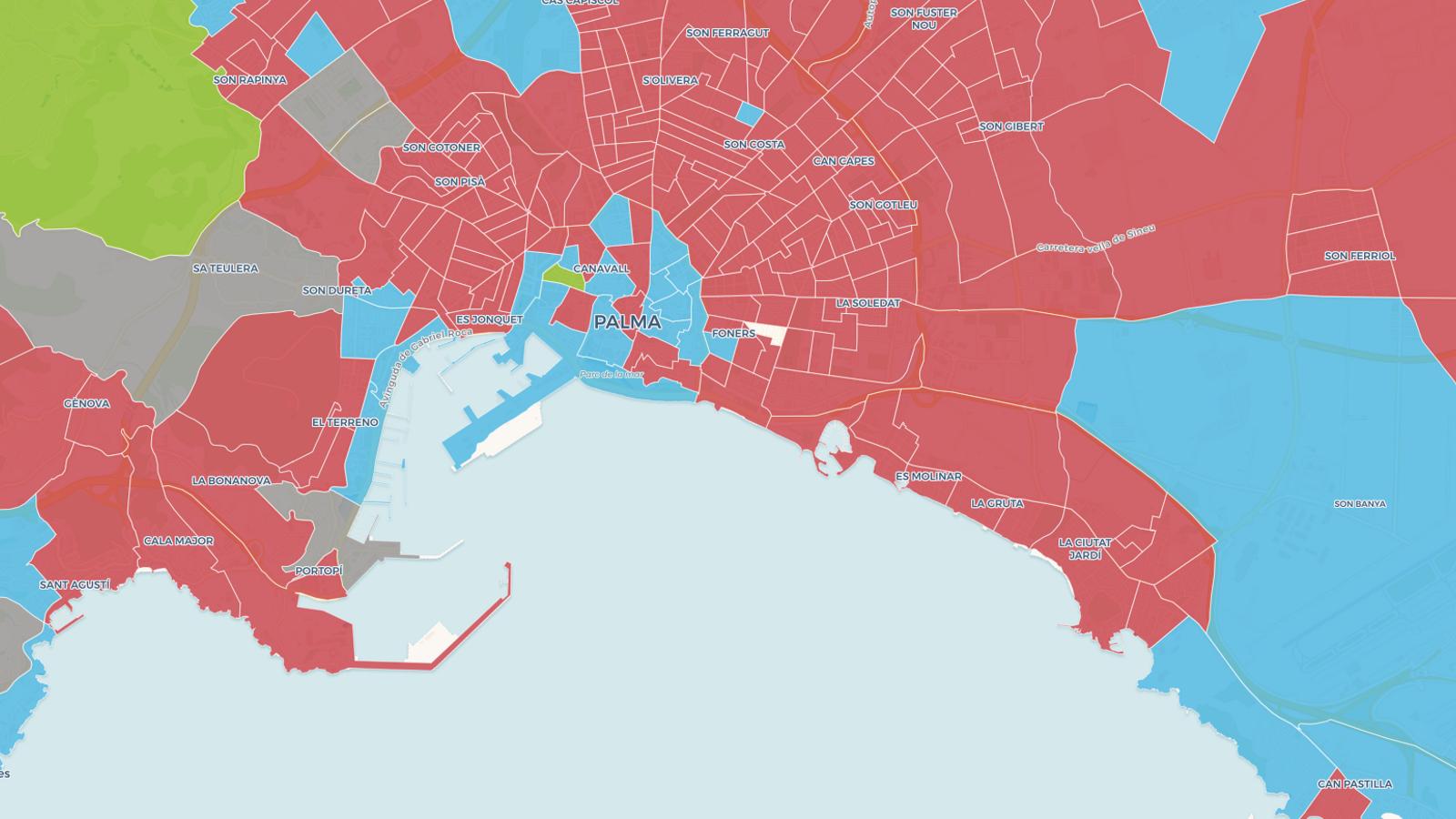 Captura de pantalla del mapa de les eleccions autonòmiques del 26-M per seccions censals