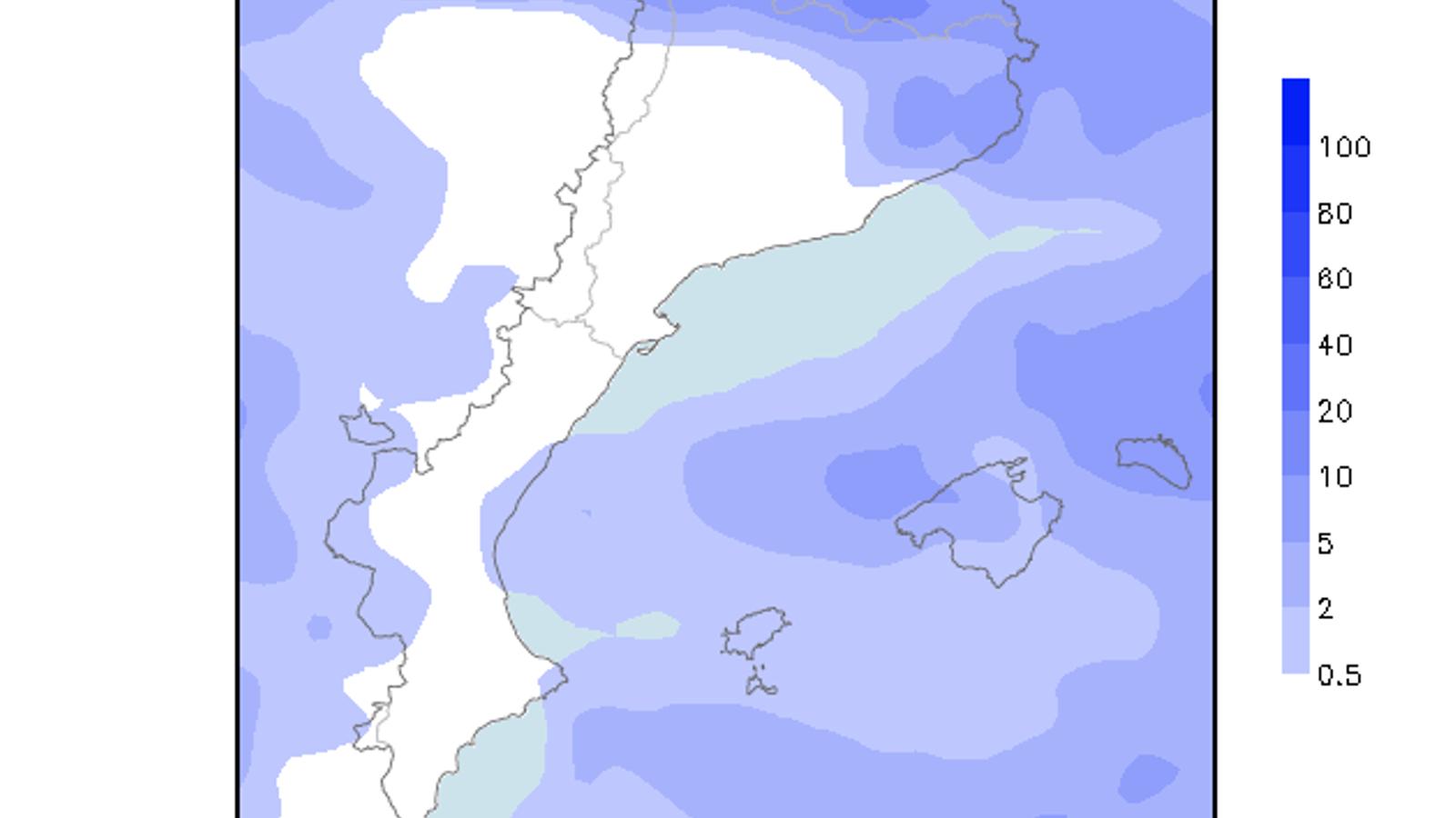Acumulacions de precipitació previstes per demà divendres